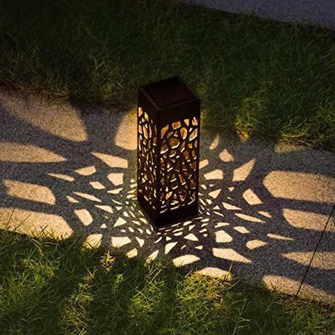 a lamp with a geometric pattern.