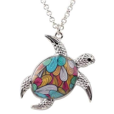 Floral Sea Turtle Pendant Necklace