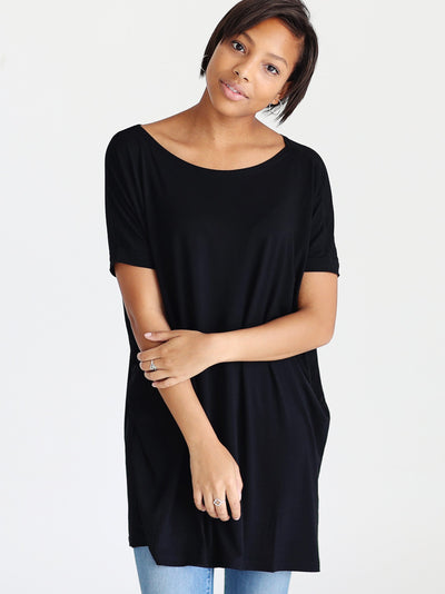 Pre-Order - Black DLMN Short Dolman Sleeve Tunic