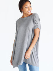 Pre-Order - Dark Heather Gray DLMN Short Dolman Sleeve Tunic