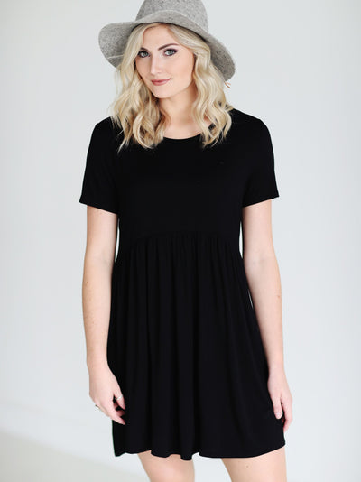 Bamboo Babydoll Dress - Black