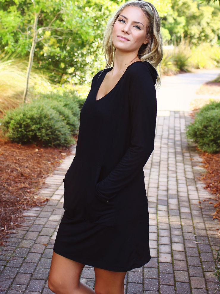 Bamboo Hoodie Dress - Black