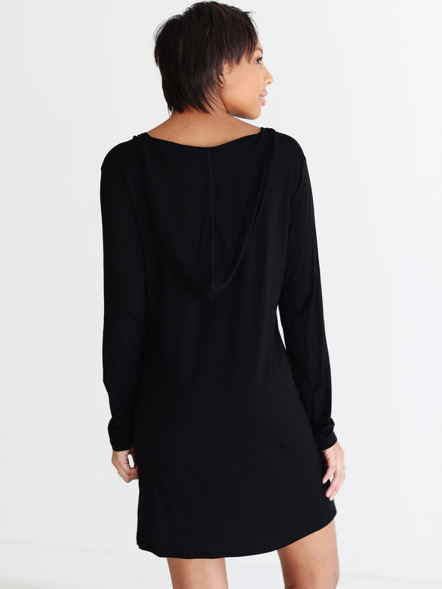 Ready to Ship - Bamboo Hoodie Dress - Black