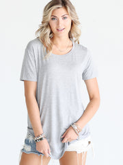 Pre-Order - Heather Gray DLMN Curved Hem Tee