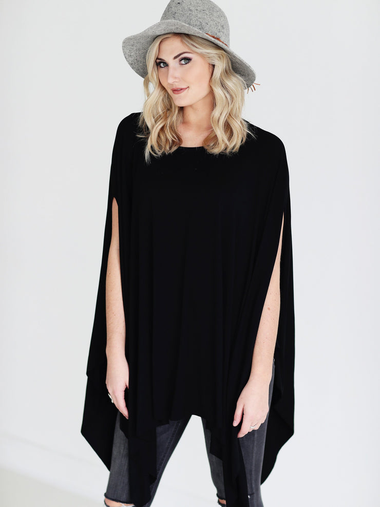 Ready to Ship - Bamboo Handkerchief Poncho Top - Black