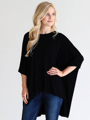 Bamboo Slouchy Dolman High-Low Tee - Black