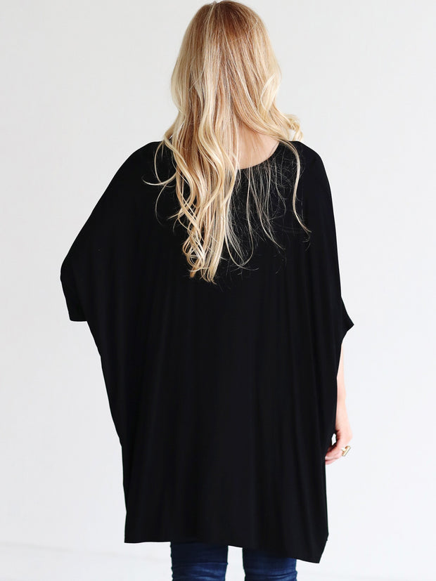 Ready to Ship - Bamboo Slouchy Dolman High-Low Tee - Black