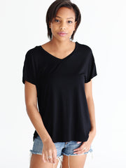 Pre-Order - Black DLMN Flutter Sleeve Top