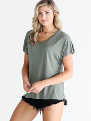 Pre-Order - Light Olive DLMN Flutter Sleeve Top