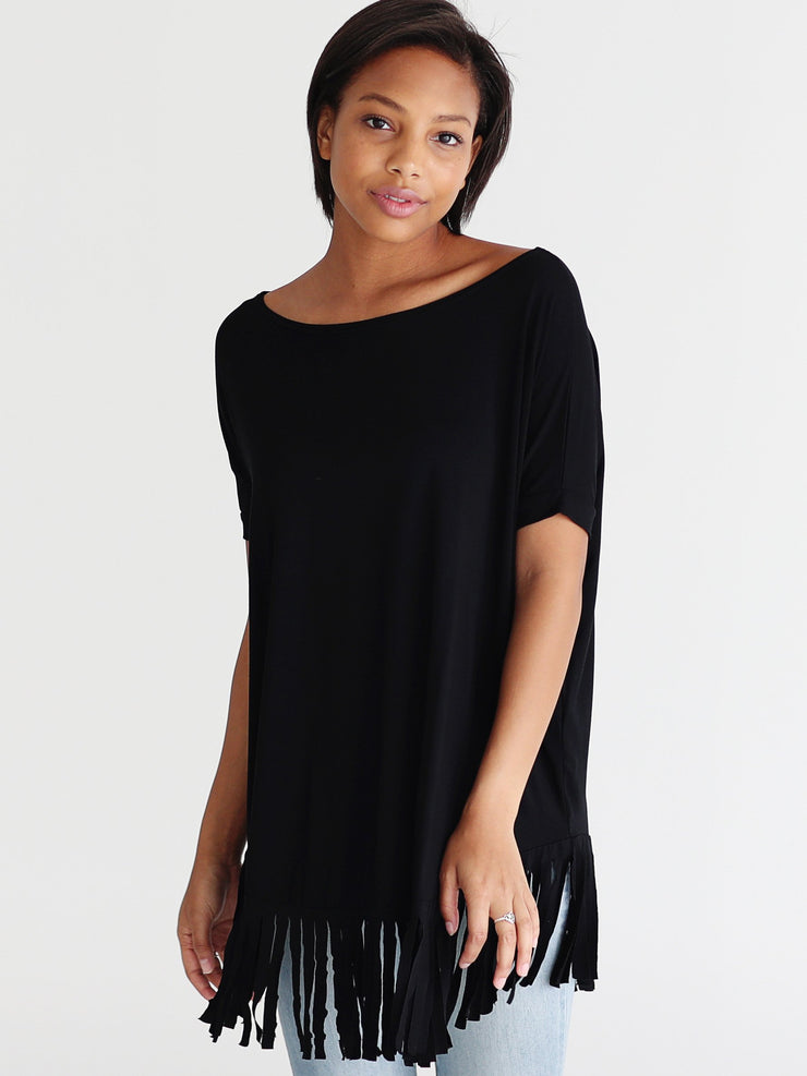 Pre-Order - Bamboo Short Sleeve Fringe Top - Black