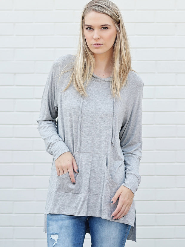 Bamboo High-Low Hoodie - Heather Gray