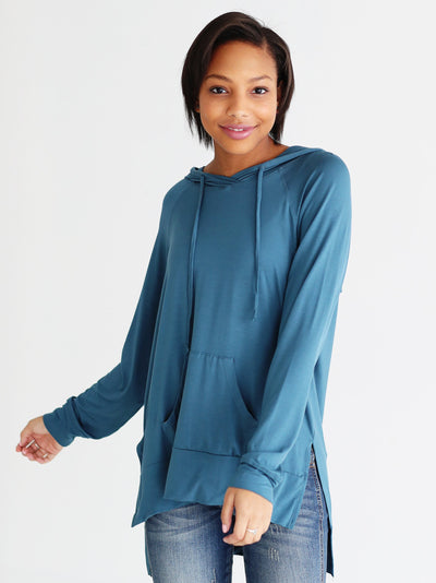 Ready to Ship - Bamboo High-Low Hoodie - Midnight Teal