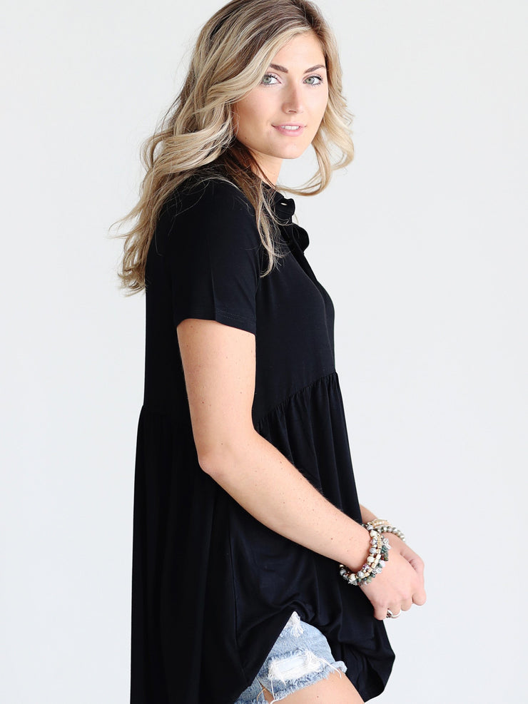 Pre-Order - Black DLMN Button Up Babydoll Top