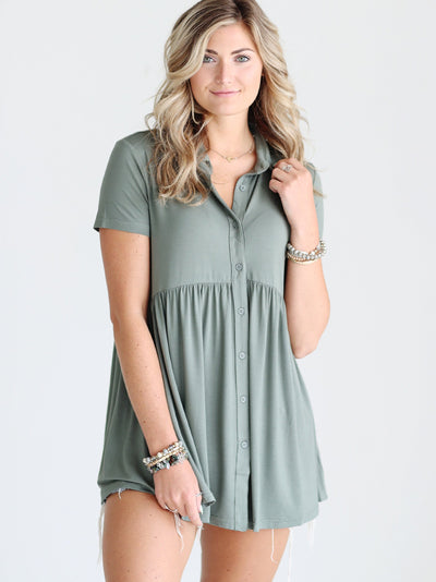 Pre-Order - Light Olive DLMN Button Up Babydoll Top