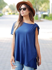 Pre-Order - Navy DLMN Asymmetrical Brooched Top