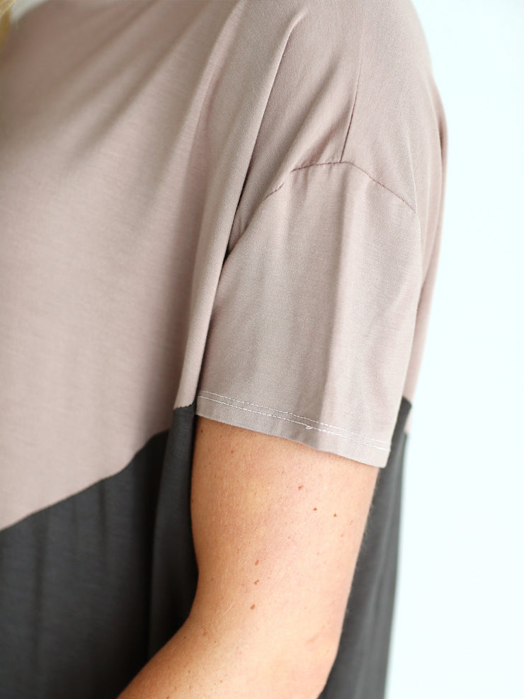 Pre-Order - Bamboo Short Sleeve Color Block Tee - Tricolor