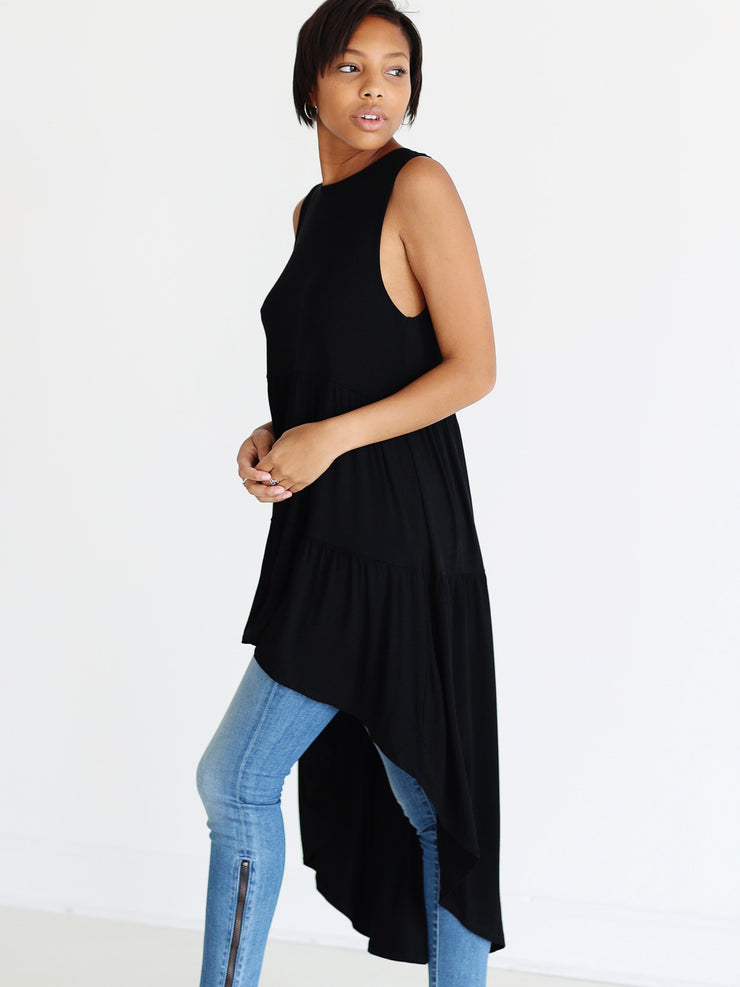 Pre-Order - Black DLMN High-Low Tunic
