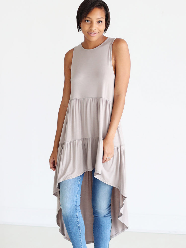 Pre-Order - Light Brown DLMN High-Low Tunic