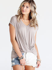 Pre-Order - Light Brown DLMN Cap Sleeve Twist Tee