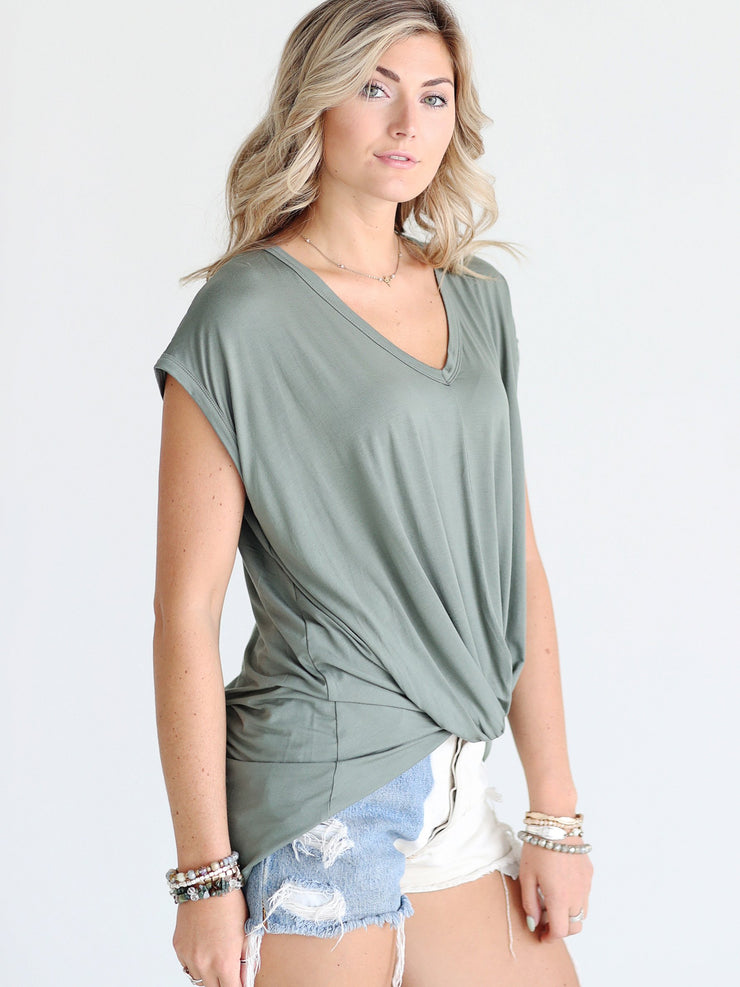 Pre-Order - Light Olive DLMN Cap Sleeve Twist Tee