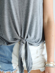 Pre-Order - Dark Heather Gray DLMN Tie-Front Tank Top