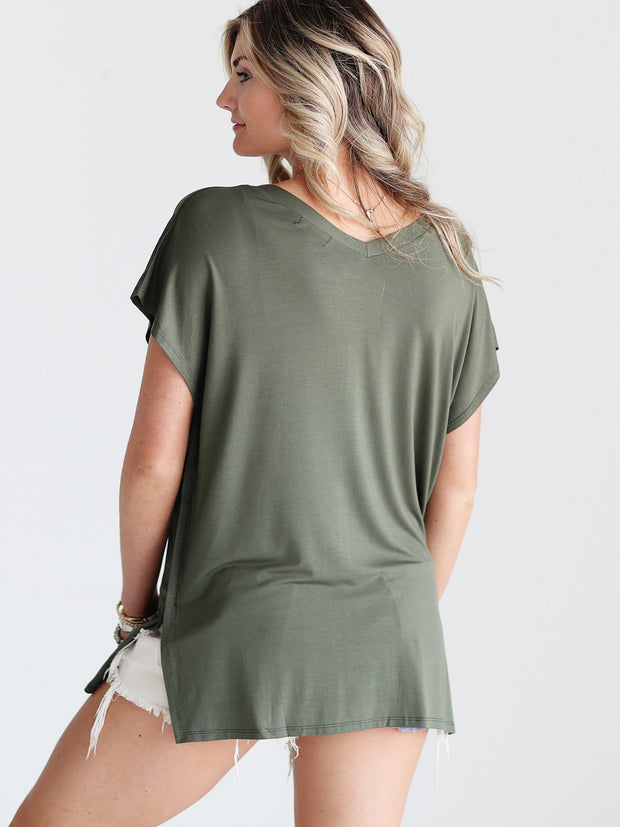 Pre-Order - Army DLMN V-Neck Side Slit Top