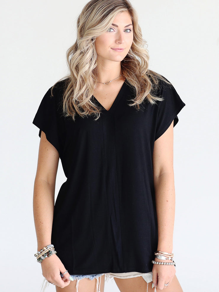 Pre-Order - Black DLMN V-Neck Side Slit Top