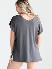 Pre-Order - Dark Gray DLMN V-Neck Side Slit Top