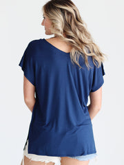 Pre-Order - Navy DLMN V-Neck Side Slit Top