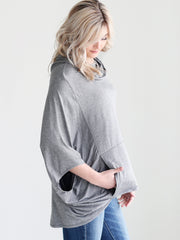 Bamboo Cowl Neck Poncho - Dark Heather Gray