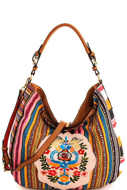 Embroidered Hobo Shoulder Bag Purse