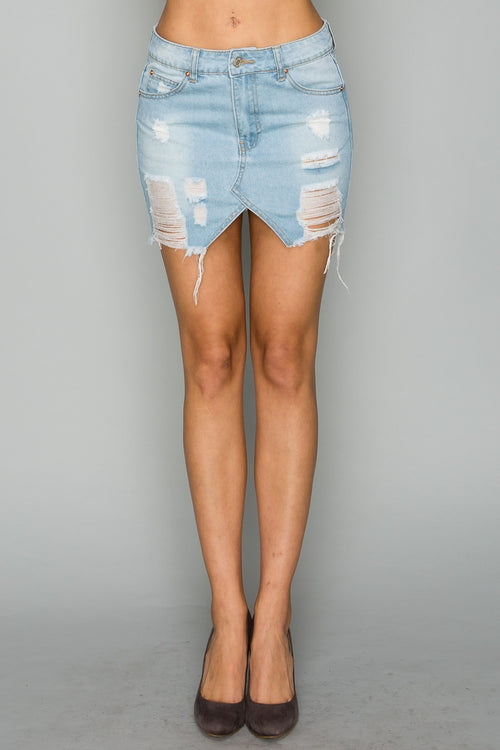 Distressed Light Denim Mini