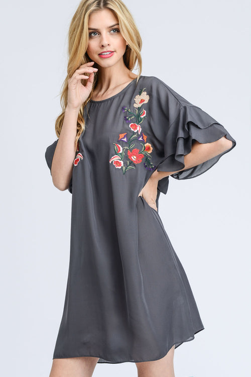 Embroidered Ruffle Sleeve Shift Dress