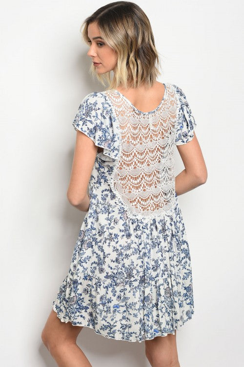 White Lace Back Floral Dress