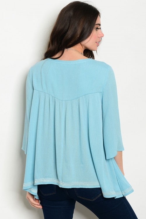 Sky Blue Embroidered Flow Blouse