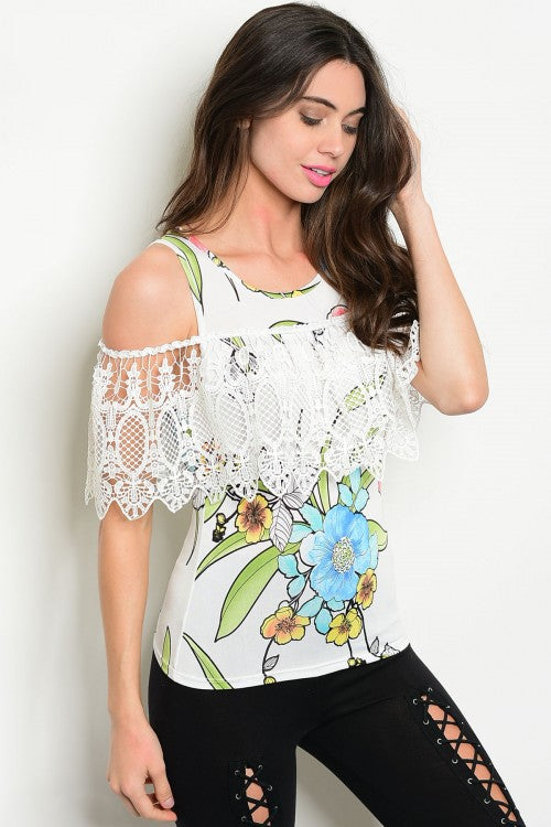 Lace Cold Shoulder Stretchy Top