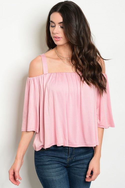 Off Shoulder Pink Knit Top