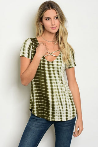Cold Shoulder Peach Striped Tee