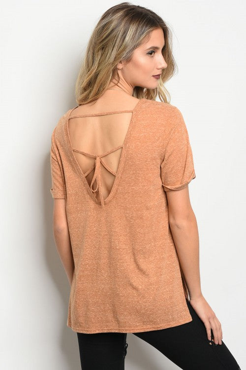 Camel Knit cutout Back Tshirt