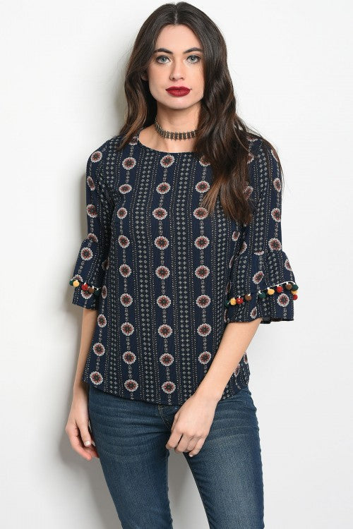 Navy Blue Floral Pom Blouse