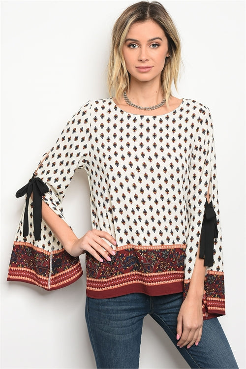 Boho Printed Cutout Sleeved Blouse