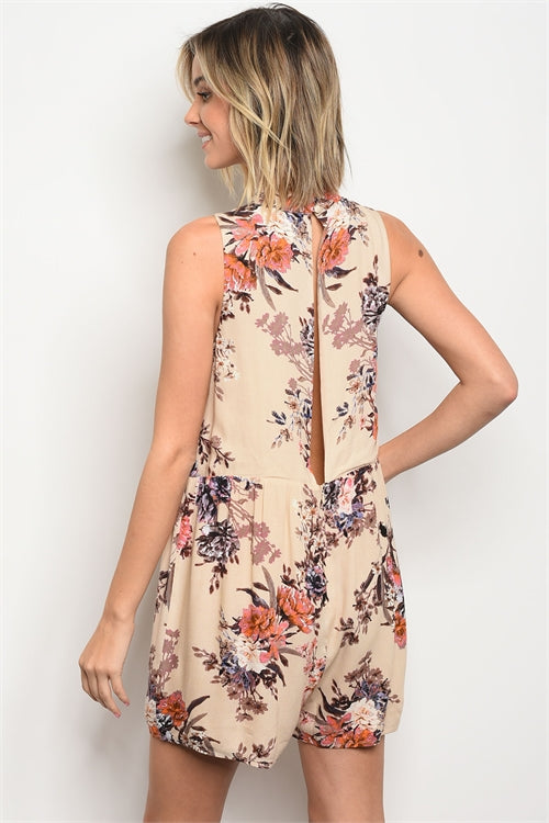Tan Cutout Deep V Romper