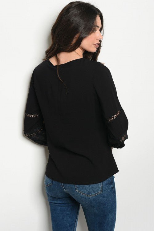 Black Embellished Tassel Blouse