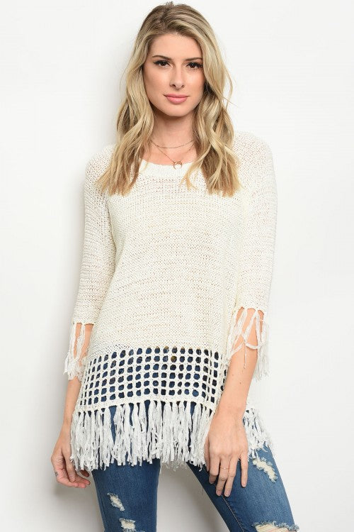 Ivory Fringe Lightweight Sweater