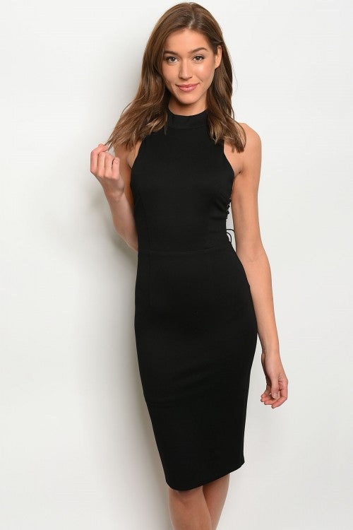 Black Sleeveless Halter Lace Up Midi Dress