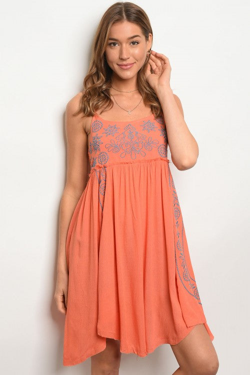 Orange Embroidered Dress Boho Dress