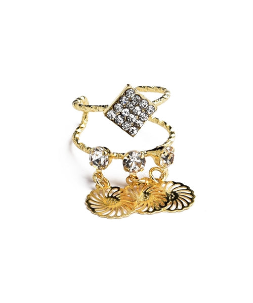 Rhinestone Gold Drop Ring