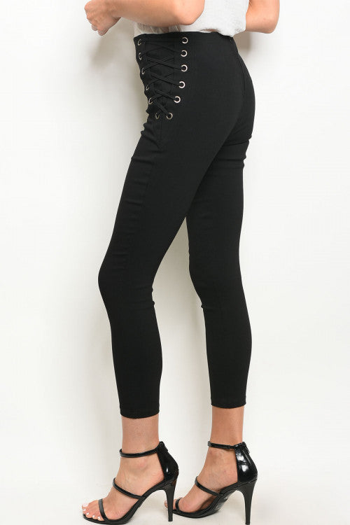 Black Shoelace Cropped Pants