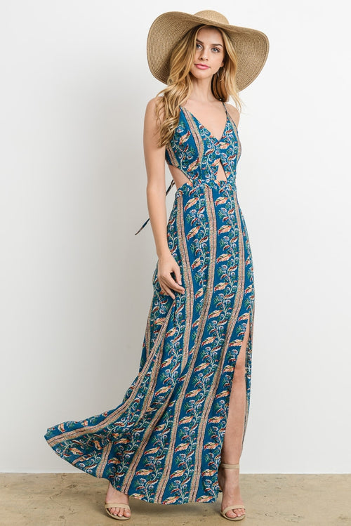Teal Cutout Floral Maxi Dress