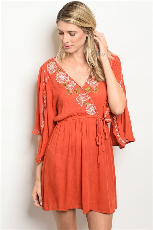 Embroidered Tunic Dress Rust